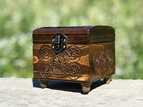 4 Inch Carving Vintage Box - Wedding Wooden Box - Small Wood Box - Storage Box - Tree Carving Wedding Gift - Decorative Box - Father's Day Gift - Unique Jewelry Box - Valentines Box - Carved Crate ()