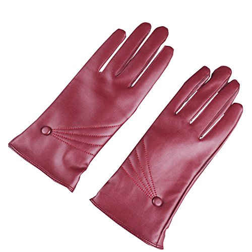 Crytech Womens Winter Leather Touchscreen Texting Warm Driving Gloves Classic Men's Texting Touchscreen Nappa Leather Gloves Wool/Cashmere Full Finger Hand Warmer Gloves (Wine)