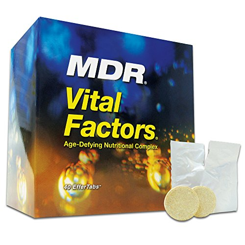 MDR Vital Factors Anti-Aging Dietary Supplement with Resveratrol Helps Support Brain Function, Immunity, Good Health, Firm Skin and Youthful Energy 40 Effervescent Tablets