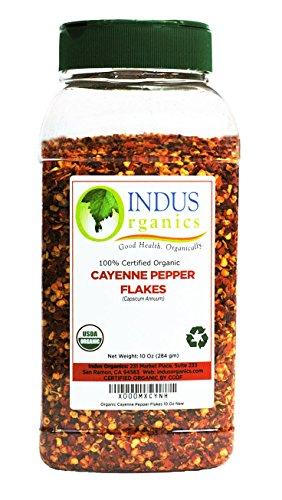 Indus Organics Cayenne Pepper Flakes (40,000 SHU), 10 Oz Jar, Premium Grade, High Purity, Freshly Packed