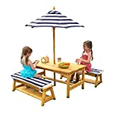 Canopy Wood Folding Chair KidKraft Outdoor table and Chair Set with Cushions and Navy Stripes