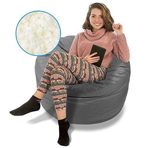 BeanBob Bean Bag Chair (Steel Grey), 3ft - Bedroom Sitting Sack for Kids & Adults w/Super Soft Foam (Teen Bedroom Chairs)
