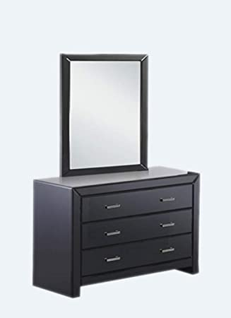 Artikle Leather Black 6 Drawer Leather Dresser of Chest wth Mirror