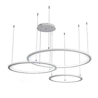 Led 3 Ring Kreativ Design Pendelleuchte Weiss Wohnzimmer Dekoration Hangeleuchte Modern Minimalistisch Esszimmer Esstisch Kuche Fernbedienung Dimmbar