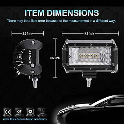 Kawell LED Light Pods Light 36W 2 Pack LED Work Light Bar Offroad Driving Flood Beam Fog Light for Jeep Truck Heavy Duty UTV ATV SUV: Automotive