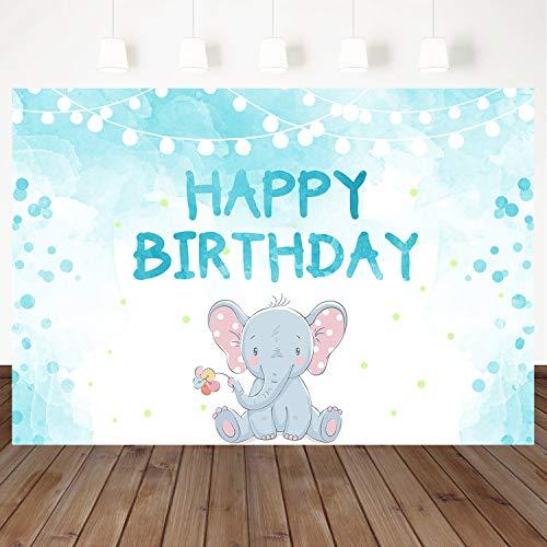 Mehofoto Happy Birthday Backdrop Blue Background Cartoon Little Elephant Backdrops 7X5ft Vinyl Studio Photo Props Birthday Photography Backdrops for Children's Birthday Party ()