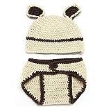 Matissa Newborn Baby Girl/Boy Crochet Knit Costume Photo Photography Prop Hats Outfits (Bear)
