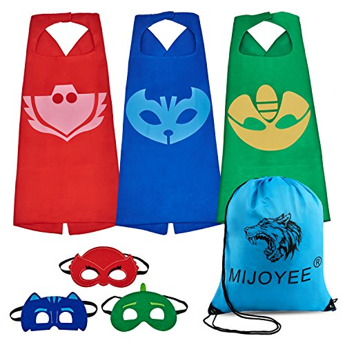 MIJOYEE Mask with Cape for Kids (Set of 3) Masks Costumes Catboy Owlette Gekko (Set of 3) (Alien Child Mask)
