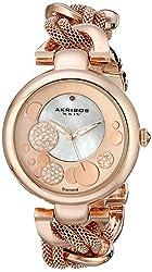 Akribos XXIV Women's AK643RG Lady Diamond Rose-Tone Dial Mesh and Chain Link Bracelet Watch