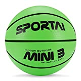 "Sport AI Small Basketball Mini Cute Bouncy Ball for Kids,Safe and Soft to Handheld 7"" Green/Blue/Pink Basketballs"