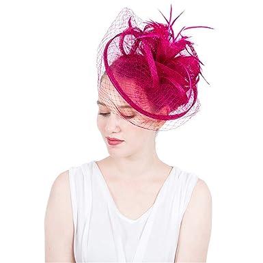 95281bf0e Women's Elegant Fascinators Hat Headband Bridal Feather Hair Clip ...