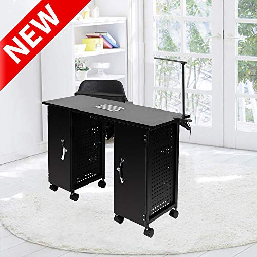 DANGRUUT Upgraded Version Manicure Station, Best Manicure Nail Table Desk, Multifunction Beauty Spa Salon Nail Desk, with Drawers, LED Lamp, Wheel, Electric Downdraft Vent, Arm Rest, Nail Equipment
