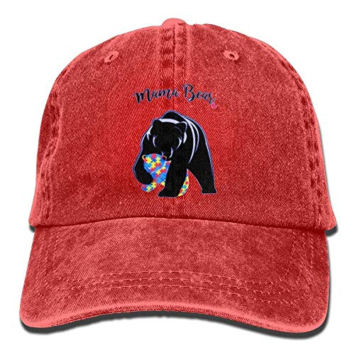 (Autism Awareness Mama Bear Denim Hat Adjustable Unisex Stretch Baseball Cap)