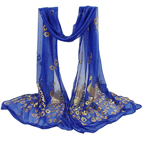 Tsmile Tsmile women lightweight Large Blanket Wrap Shawl Scarfs Peacock Design Flower Embroidered Lace Soft Long Scarf Wrap (Blue) (Evening Peacock Blue Dress)