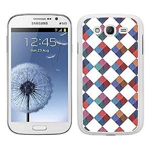 Funda carcasa para Samsung Galaxy Grand NEO Plus diseño estmapado rombos cuadros camisa efecto tela borde blanco