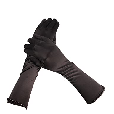 Ruched Satin Gloves Fancy Dress 20/'s Prom Evening Xmas Party