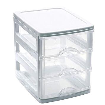 Mini Cajonera de plástico 3 cajones - Blanco 17x13,5x16,5 cm ...