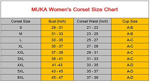 Muka Women Black Boned Corset Plus Size Halloween Bustier Waist Cincher
