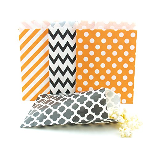 Halloween Candy Bags (100 Pack) - Black & Orange Party Favor Bags, Trick-or-Treat Paper Bags & Halloween Party Decorations/Party Favors -