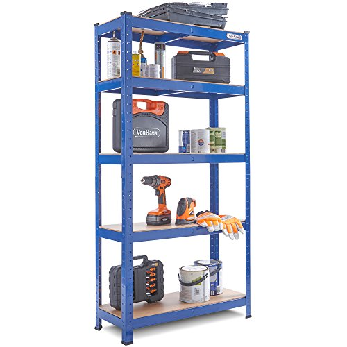 VonHaus 1.5m 5 Tier Garage Shelves Racking Utility Heavy Duty Industrial Steel & MDF Boltless Shelving Unit Workbench - Massive 875Kg Capacity | 150cm H 75cm W 30cm D |175kg Per Shelf