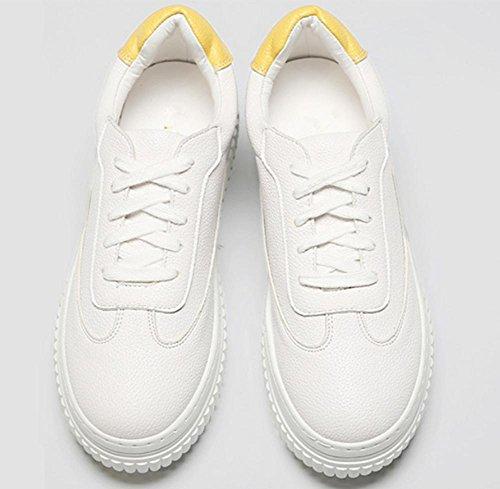 2017 nuevos zapatos de mujer de cuero grueso cinturón de deportes de ocio con los solos zapatos blancos redondos Yellow