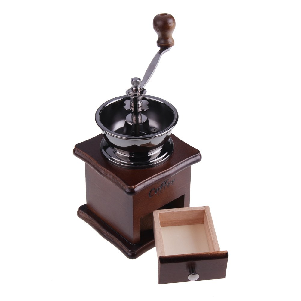 ttnight Mini Manual Coffee Grinder Mill Wood Stand Bowl Antique Hand Coffee Bean Grinder (Maroon) by TTnight (Image #4)