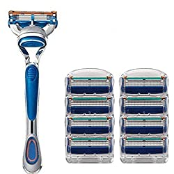 Men's 5 Blade Razor Kit,Men's Manual Fashion Shaver With Safety Refill Cartridages, 1Manual Razor Handle and 8 Replacement Cartriges
