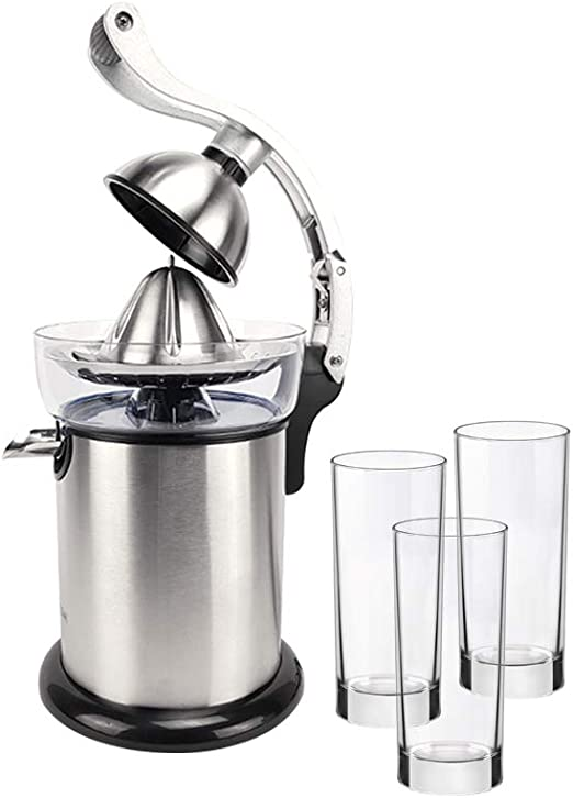Buystar - Exprimidor eléctrico profesional, 130 W, de acero inoxidable, prensa a presión con palanca de aleación, boquilla antigoteo + 3 vasos de 27,5 cl: Amazon.es: Hogar