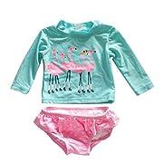 Baby Little Girls Rashguard Set Long Sleeve Swan Swimwear Polka Dot