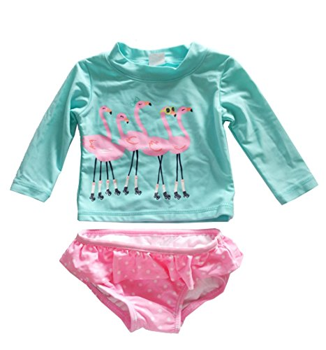 Baby Little Girls Rashguard Set Long Sleeve Swan Swimwear Polka Dot