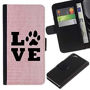 iKiki Tech / Cartera Funda Carcasa - Live Love Pet Dog Canine Pink Text Paw - Apple iPhone 6
