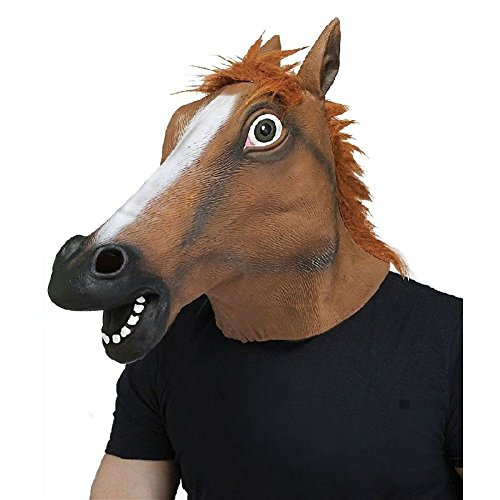 (Horse Mask Funny Adult Animal Costume Head Halloween Fancy Dress)
