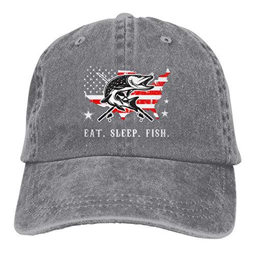 DANDAN SHOP Eat Sleep Fish Fisher American Flag Fashion Print Denim Cotton Adjustable Hat