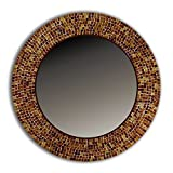 DecorShore 24″ Traditional Mosaic Mirror, wall mirror, decorative wall mirror, BROWN For Sale
