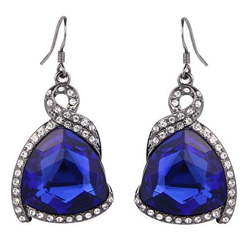 (BriLove Women's Bohemian Boho Triangle Crystal Ribbon Shape Filigree Hook Dangle Earrings Royal Blue Black-Silver-Tone)
