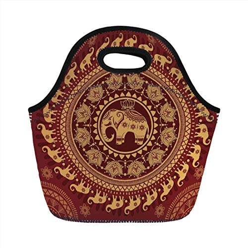 Bag,Elephant Mandala,Tribal Mehndi Ethnic Backdrop with Lotus Flowers Guardian Animal Decorative,Burgundy and Yellow,for Kids Adult Thermal Insulated Tote Bags ()