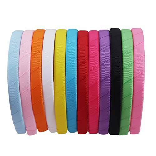 (Candygirl 12mm Wide Girls DIY Headband Ribbon Alice Hair Band DIY Craft Hairbands,Ribbon Headbands for Girls(12pcs wrapped headbands))