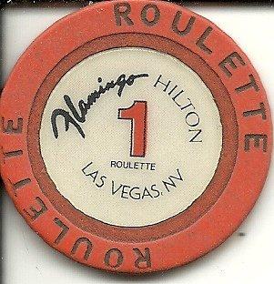 $1 flamingo hilton las vegas casino chip roulette table 1 orange