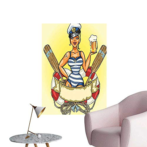 Vinyl Artwork Pin Up Sexy Sailor Girl in Lifebuoy with Captain Hat and Costume Glass Easy to Peel Easy to Stick,28