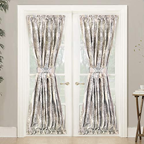 DriftAway Adrianne Door Curtain,Thermal Room Darkening Privacy French Door Panel Patio Sliding Window, Single Rod Pocket Curtain with Bonus Matching Tieback 52