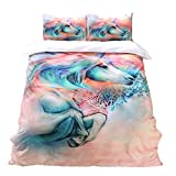 LOVE(TM) Bedding Duvet Cover Luxury Soft Polyester 3 Piece Duvet Cover Set(2 Pillow Shams+1 Duvet Cover)(No Comforter),Unicorn Queen