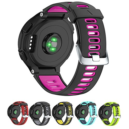 NotoCity Silicone Watch Band Replacement Solft Silicone Strap Compatible Forerunner 230/ 220/ 235/ 620/ 630/ 735XT-Black Pink