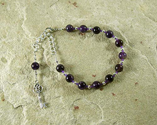 Hekate Prayer Bead Bracelet in Amethyst: Greek Goddess of Magic, Witchcraft, Night, Darkness, Protection of the Home and Women