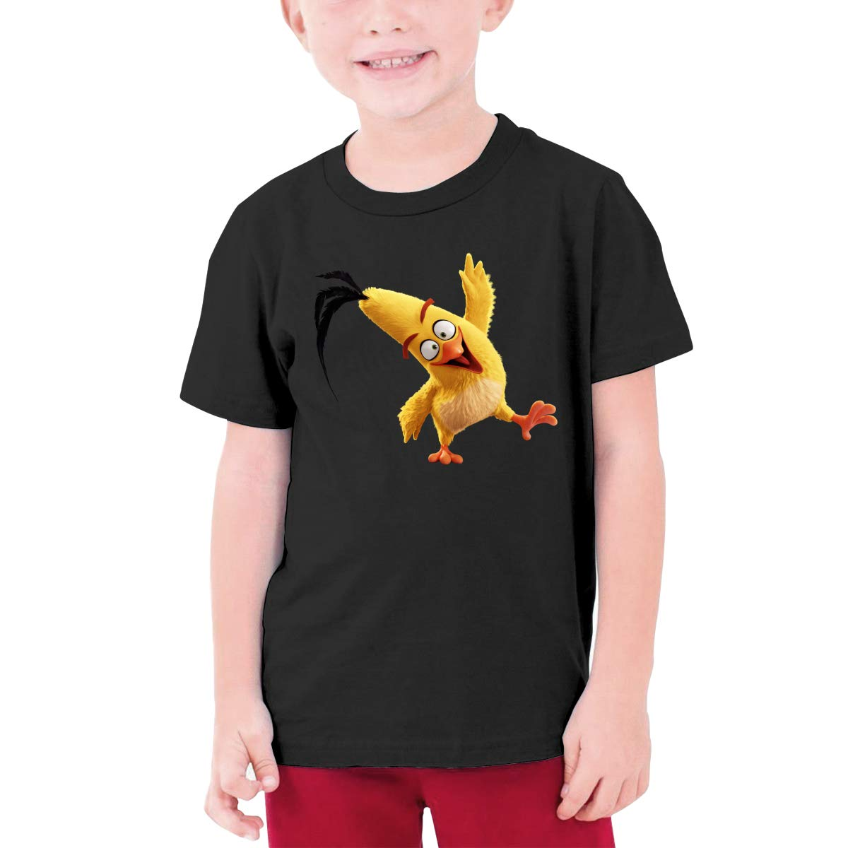 RuiPeng Design Angry Birds Chuck Funny T-Shirt O-Neck for Teenagers Black