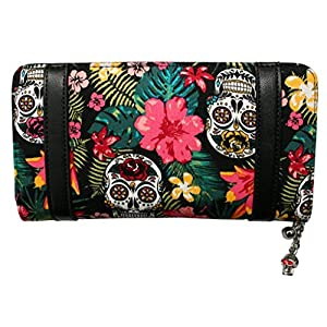 BANNED TROPICAL SUGAR SKULL FLORAL HIBISCUS PURSE WALLET ROCKABILLY BEDLAM