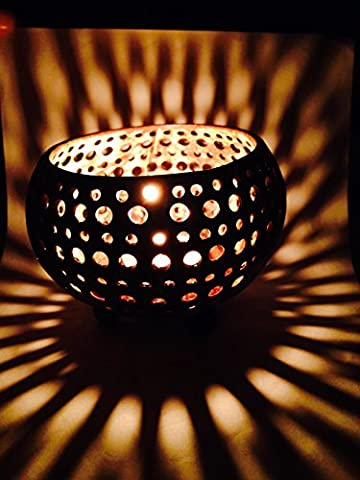 Lovely Coconut Shell Tea Light Candle Holder with Free Frangipani Flower Tea Light Scented Candle Genuinely Handmade for Home, Room, Patio, Party - Coconut Shell Pendant