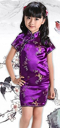 True Meaning Pretty Girls Cheongsam Dress Chinese Tradition Plum Flower Bamboo Qipao (Traditions Halloween Ireland)