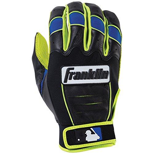 (Franklin Sports Adult MLB CFX Pro Revolt Series Batting Gloves, Optic Yellow/Blue,)