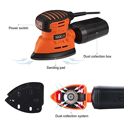 Mouse Detail Sander with 12Pcs Sanderpaper, Tacklife 12000 OPM Sander with Dust Collection System for Tight Spaces Sanding in Home Decoration, DIY - PMS01A by TACKLIFE (Image #1)