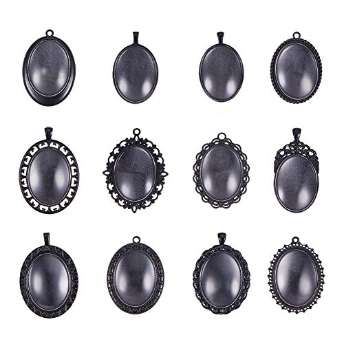 (PH PandaHall 12pcs 30x40mm Black Oval Alloy Blank Bezel Pendant Trays Settings, 12pcs Transparent Glass Cabochon for Jewelry Making DIY Findings)